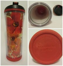 Starbucks Coffee Company 2007 Plastic Travel Tumbler 16 oz Floral Red Blue Cup