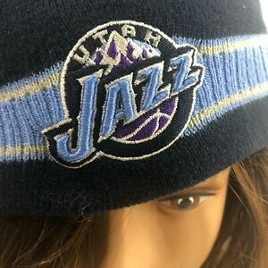 Utah Jazz NBA Basketball Knit Beanie Winter Snow Hat Navy Embroidered Both Sides