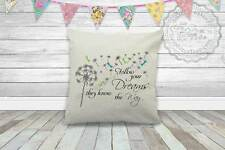 Inspirational Quote on Cushion, Follow Your Dreams with Dandelion Dragonflies