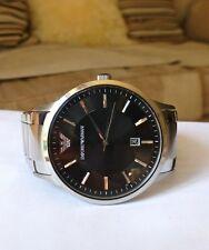 EMPORIO ARMANI Caballeros Reloj De Acero Inoxidable con Dial Negro AR2457