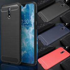 """Per Nokia 2.3, 6.2 """" Fibra di Carbonio Silicone Gel Custodia Cover Telefono + HD"""