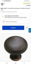 """Set of 10 Allen + Roth 1.2"""" Aged Bronze Mushroom Traditional Cabinet Knob (s)New"""