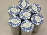Lot of 175 Poker Chips - 7 Rolls of 25 Chips 11.5 Gram Blue Card Pattern New