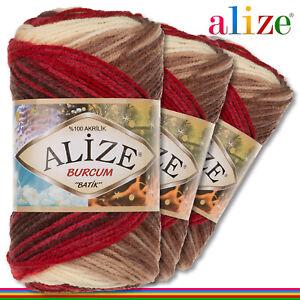 Alize 3x100 G Burcum Batik Premium Lana 100% Acrílico 4574 Tejidos de Gradiente