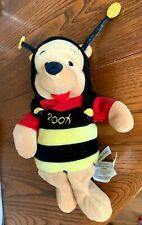 """Vintage Disney Store Winnie The Pooh Soft Toy In Bumble Bee Outfit 8"""" tall VGC"""
