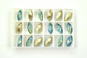 White Opal Star Shine Swarovski 15x7mm Navette Rhinestones #4200, 18 pieces A144