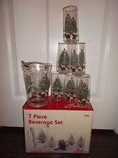 "Crisa ""Carolina"" 7 Piece Christmas Beverage Set ~ 1 Pitcher & 6 Beverage Glass."