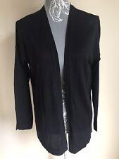 H&M Women Open Front Cardigan Size 10-12 Black Long Sleeve Lightweight Oversize