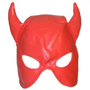 Fancy Dress Faux Leather Devil Lace Up Mask / Hood