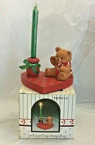 Vintage Wang's International Wooden Teddy Bear Heart Shape Candle Holder 1988
