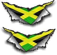 SMALL Pair Triangular Ripped Metal & Jamaica Jamaican Flag Vinyl Car Sticker