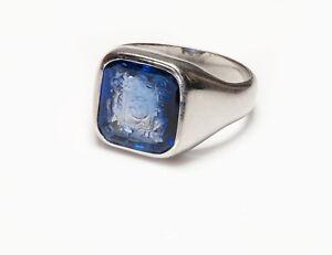 Platinum Synthetic Intaglio Sapphire Men's Ring