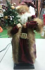 "18"" Santa Claus Figure Christmas Decor Faux Fur Trim Velvet Robe Holding Present"