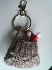 Knitting bag, bag charm. Handmade. Knitted. New. Beige and red. Crocheted.