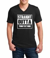 Men's V-neck Straight Outta Shirt Personalized Customized T-Shirt Custom Made