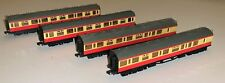 Rake of 4 Dapol N Gauge Collett Carriages in BR Crimson and Cream Livery
