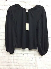 Womens Pullover Long Sleeve Peasant Top Blouse A New Day Black XS NWT