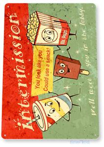 Movie Sign, Movie Snacks Popcorn Soda Ice Cream Cinema Tin Sign B577