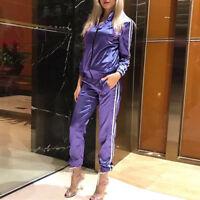 Women Tracksuit Track Top Jacket Pants Ladies Jogging Sports Training Gym Suit