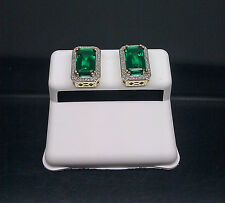 Men's/ Ladies Earring 10K Yellow Gold Emerald & 0.20CT Diamond With ScrewBack