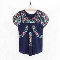 Vintage 70s Oaxacan Mexican Boho Floral Embroidered Ethnic Tunic Top Blouse