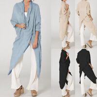 Oversize Femme Casual en vrac Col V Asymétrique Hauts Shirt Chemises Robe Plus