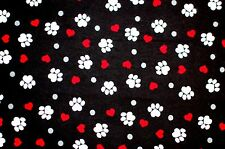 DOG OR CAT WHITE PAW PRINTS & RED HEARTS ON BLACK COTTON FLANNEL 2 YDS 42 X 72""