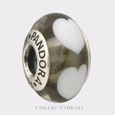Authentic Pandora Silver Murano Ice Love White Hearts Bead 790666