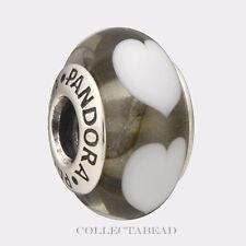 Authentic Pandora Silver Murano Ice Love White Hearts Bead 790666