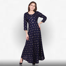 Indian anarkali gown dress top tunic special indigo blue ethnic women's kurti 39