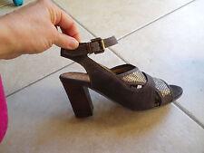 Sandales escarpins femme DKODE en 38 marron argent chaussures NEUF étiquette