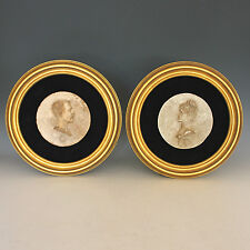 Pair of Antique Round Portrait Relief Sculptures of a French Couple 1884
