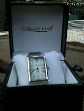 NEW Pedre for Coldwater Creek Women's Silvertone Watch-Leather Band Croc Pattern