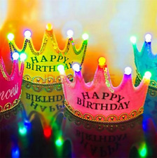 LED Birthday Party Crown/ Hat for Kid Adult Costume Accessory Light Up Flashing