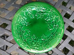 Antique Majolica Green Plate with Grape Vines and Grapes