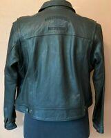 Harley Davidson Black Leather Jacket Wing HD Logo On Back Women's XL Snap Up EUC
