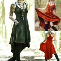 Women Vintage Casual Vintage Punk Dyed Print Strap Lace Long Hem Split Dress