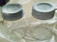 Vintage Hormel Canning Jars Oval Pint Clear Glass Jars With Zinc LIds