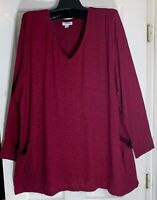 New J Jill women size 1XL seamed front Tunic two pockets Burgundy Pima cotton