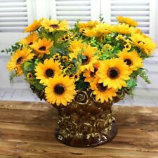 2pcs Artificial Sunflower Bouquet Decorative Wedding Flowers,7 Flowers Per Bunch