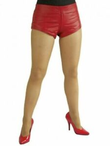 Red Genuine Cocktail Leather Stylish Party Wear Decent Casual Shorts For Women's