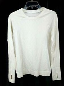 LULULEMON Rest Less Pullover Top Long Sleeve Thumb Holes Heathered White Sz 8/10
