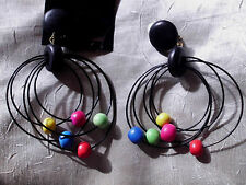 Flotte Ohrclips  Holz Perlen bunt Ringe schwarz  Hänger   NEU  10 cm