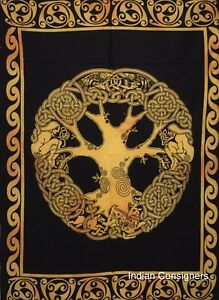 Cotton Indian Tapestry Celtic Tree Design Small Hanging Poster Wall Hanging Art