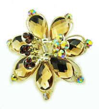Butterflies Metal Hair Clip Hair Accessory Stone Crystal Vintage Style - Brown