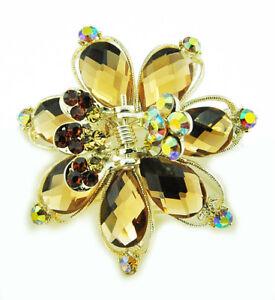Butterflies Metal Hair Clip Hair Accessory Stone Crystal Vintage Style - Brown