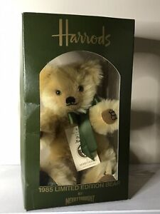 """1985 HARRODS MERRYTHOUGHT BEAR 14"""" MOHAIR  Limited Edition 504/1000 w/Box, Tags"""