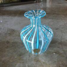 Murano Italian glass small bottle Blue/Aqua Stripes with Sticker
