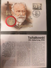 Numisbrief, Russland, 1 Rubel, 1990, 150. Geburtstag Tschaikowski