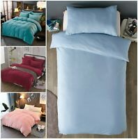 100% Brushed Cotton Duvet Cover Quilt Set Flannelette Pillowcase Thermal Bedding